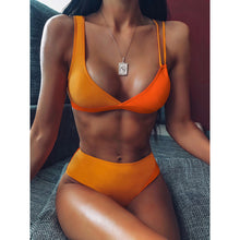 Load image into Gallery viewer, Bikini Lady Yellow Patchwork Swimsuit High Waist Single Suit