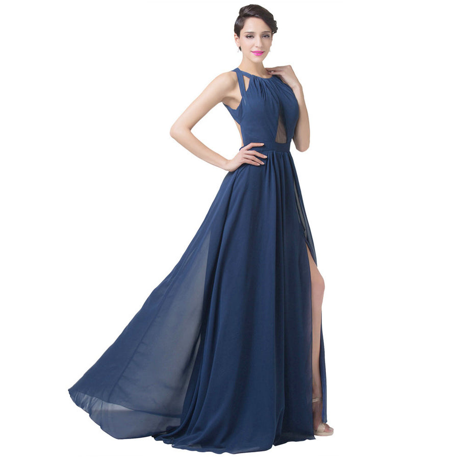 Grace Karin Fashion Women's Navy Blue Sleeveless Backless Split Floor-Length Formal Evening Dress