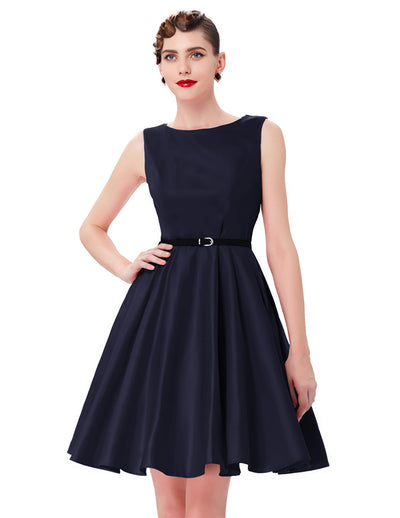 1950s Retro Vintage Style Sleeveless A Line Boat Neck Dress_Navy Blue