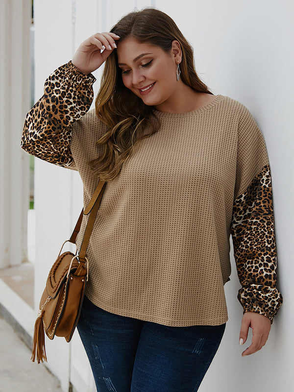 Women Casual Loose Leopard Print Round Neck Long Sleeve Pullover Tops Plus Size