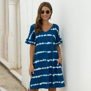 Women Casual Pocket Wavy Stripes Dress Color Matching Loose Short Sleeve V-neck