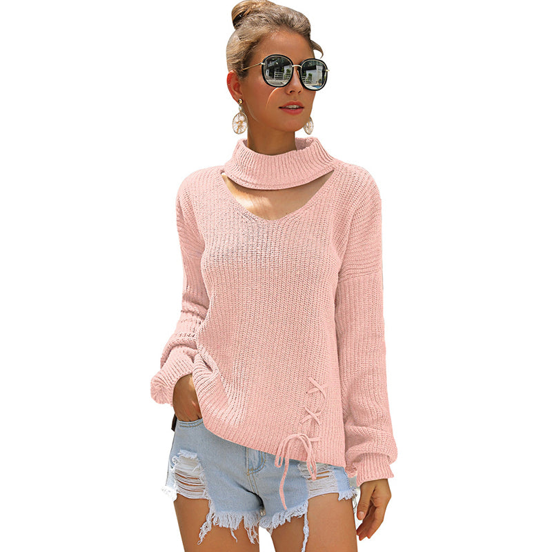 Women Hollow Bow-Knot Sweaters Knitwear Lace-Up High Collar Long Lantern Sleeve