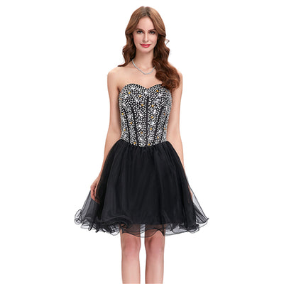 Grace Karin Women's Strapless Beaded Sequin Corset style Bridesmaid Organza Homecoming Cocktail Dress _Black