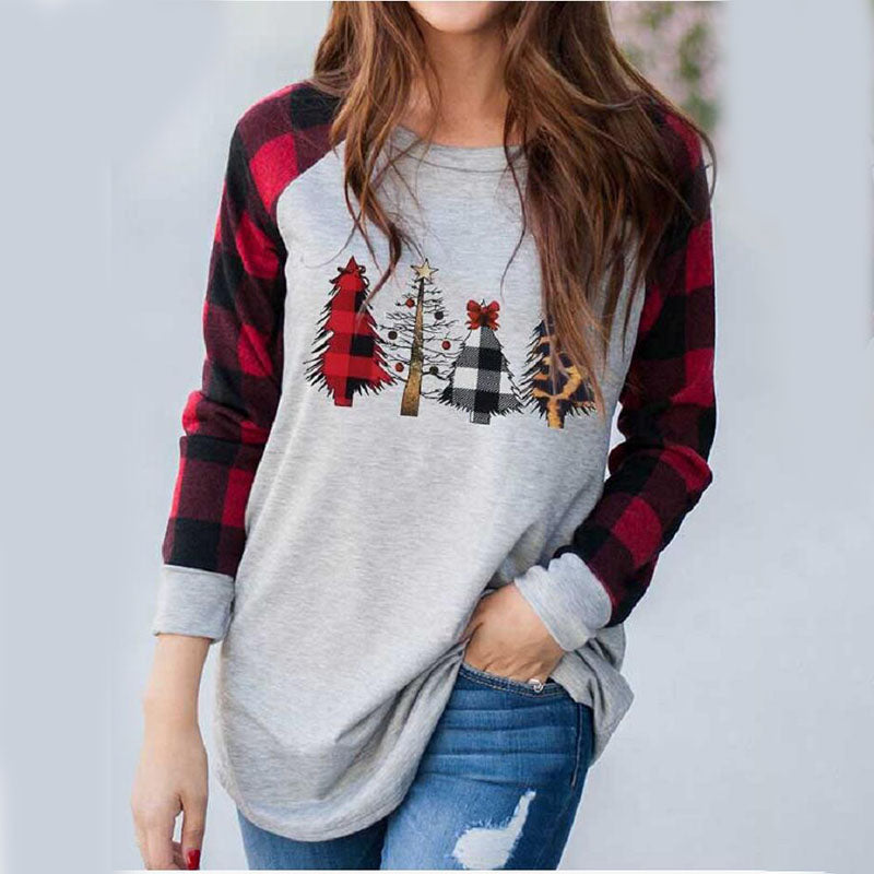 Christmas Plaid Print Long Sleeve Top