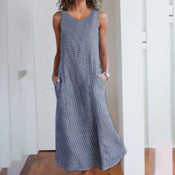 Women Summer Round Neck Stripe Splice Sleeveless Pocket Large Size Dress