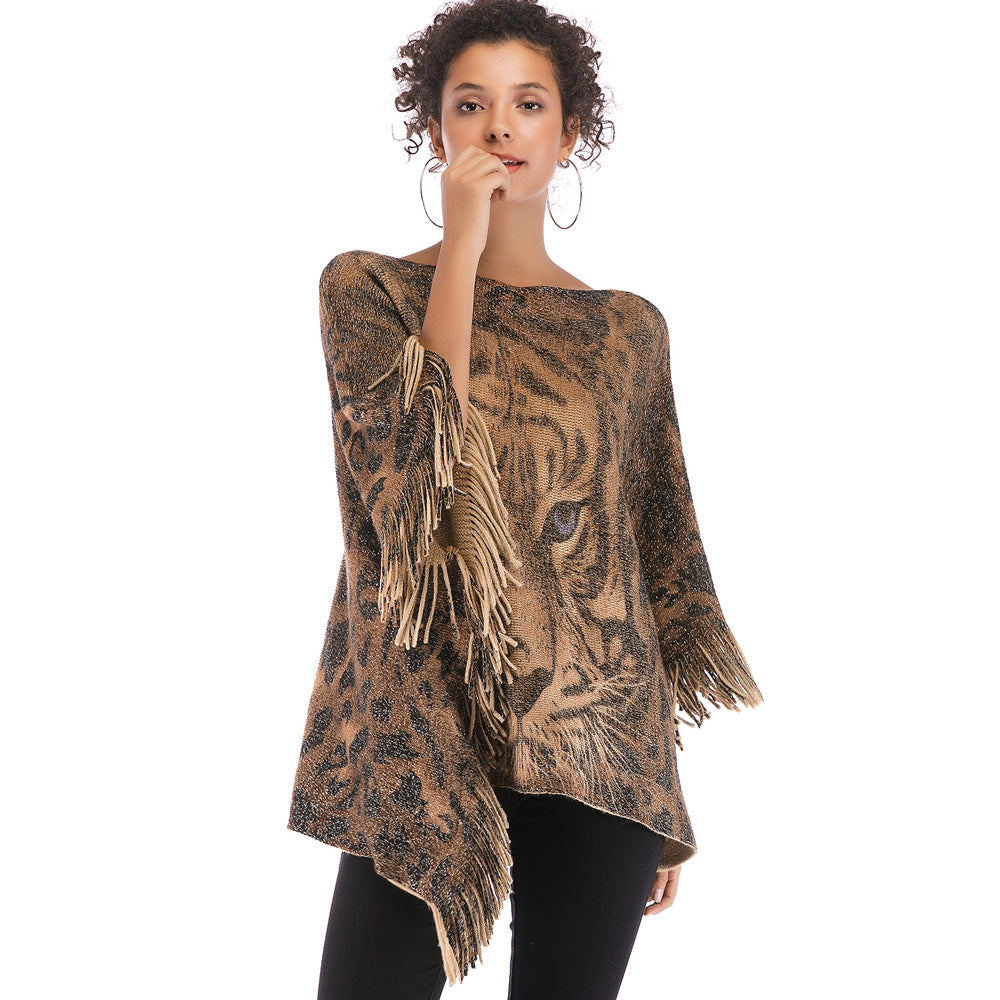 Women Fashion Tassels Tiger Printed Bat Sleeve Sweater Cape Shawl Knitwear Coat