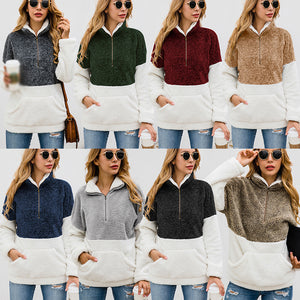 Women Casual Warm Pocket Coat Zipper Turn-over Collar Long Sleeve Pullover