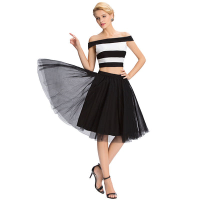 Grace Karin Women's Fashionable Two Piece Knee Length Off Shoulder Black And White Chiffon Cheap Tulle Homecoming Party Dress