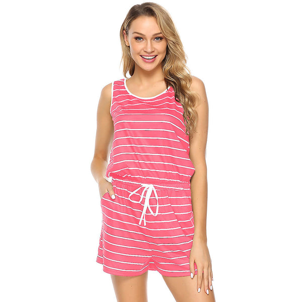 Women's Summer Rompers - Neck Striped, Sleeveless, Drawstring and Shorts