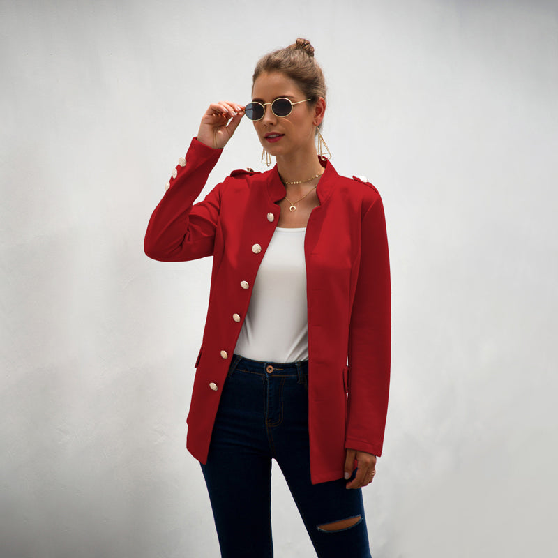 Women Coats Outwear Blazer Suit Long Sleeve Slim Fit Button Down Solid Color