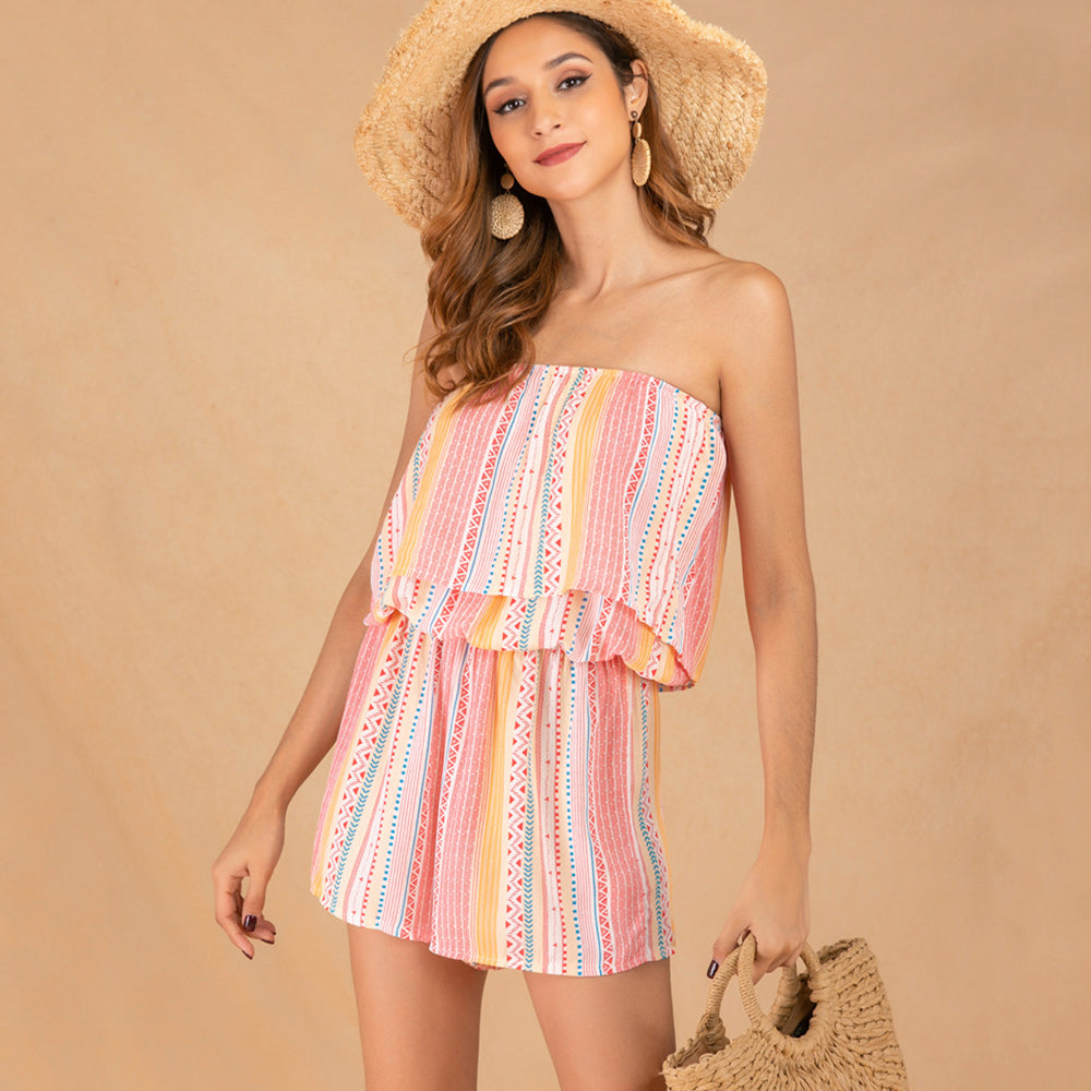Women Mini Jumpsuit Summer Off Shoulder Stripe Printing Holiday Fashion