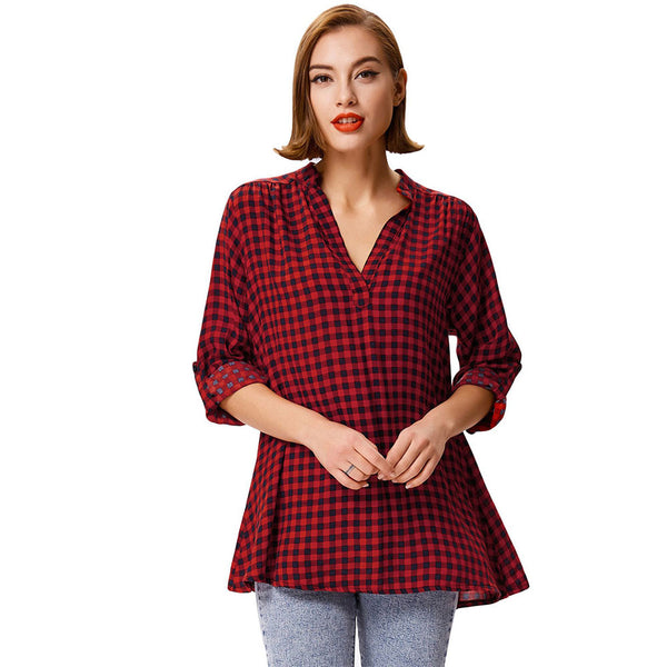 Women's Casual Grid Pattern Long Sleeve V-Neck Rayon Shirt Tops