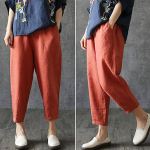 Women Casual Loose Spring Summer Harem Pants Cotton Baggy Trousers Plus Size