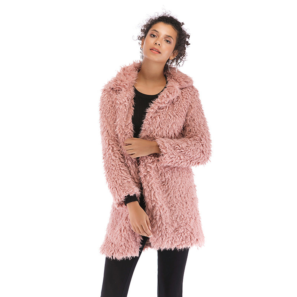 Women's Winter Warm Fluffy Lapel Slim Coat Jacket Overcoat Outerwear Plus Size - PRESALE
