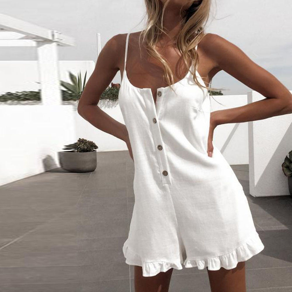 Women's White Summer Jumpsuit - Sleeveless with Sling, Ruffled, Button Down