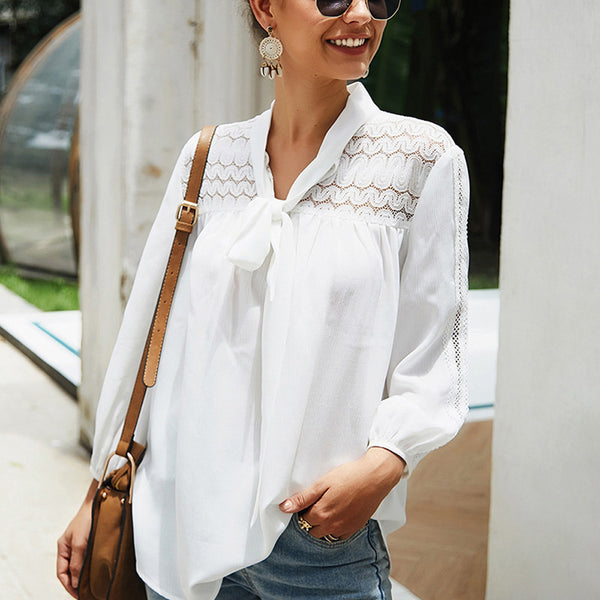 Women's White Long Sleeve Blouse -  V-Neck, Hollow Lace, Splice, Lace-Up Tops