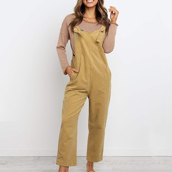 Women's Casual Straight Loose Solid Color Suspender Trousers Overalls Jumpsuit
