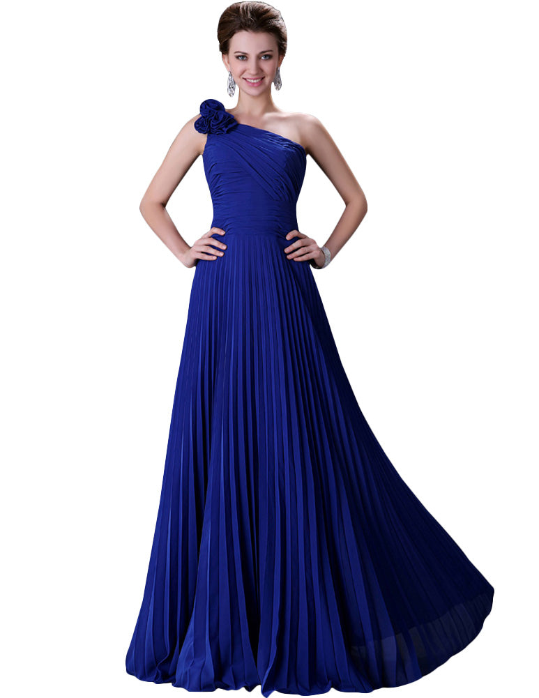 Ball Gown Prom Evening Dress - One Shoulder, Pleated
