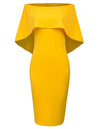 Grace Karin Sexy Sleeveless Off the Shoulder Drape Decorated Pencil Dress_Amber