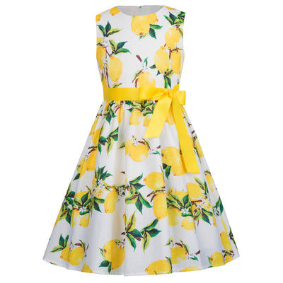 Sleeveless Knee-Length Flower Girl Dress With Vibrant Flower Pattern