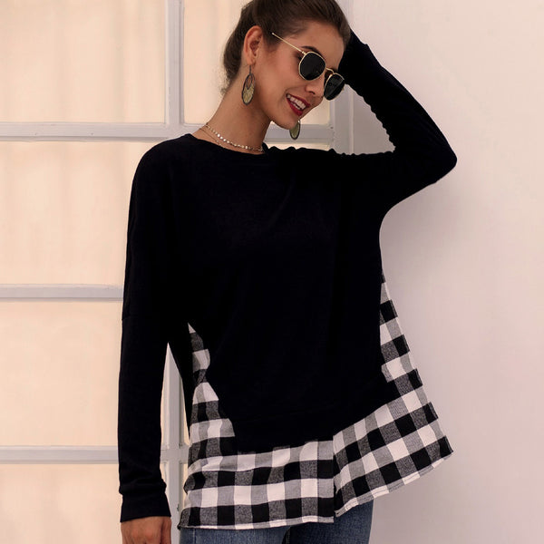 Femmes Casual col rond Plaid Tops À Tricoter Couture Mode Manches Longues