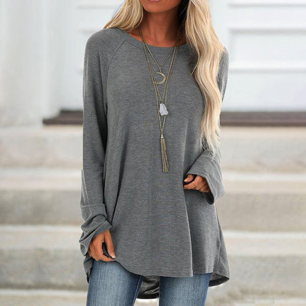 Women Casual Loose Round Neck Tops Long Sleeve T-Shirt Plus Size Solid Color