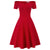GK Retro Solid Color 1 / 2 Ärmel Schulterfrei V-Ausschnitt Stretchy Swing Dress