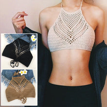 Load image into Gallery viewer, Women Crochet Bikini Knitting Halter Top Solid Color Wrapped Chest Bra