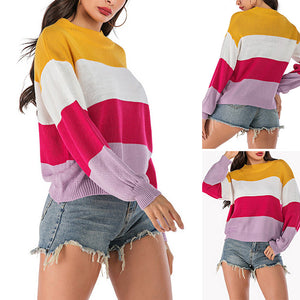 Women's Casual Striped Long Sleeve Sweater Round Neck Pullover Knitwear