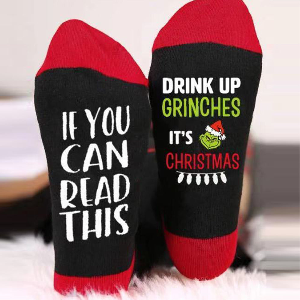 IF YOU CAN READ THIS Drink Up Grinches It's Christmas Socks