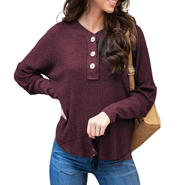 Women Tops Pullover New Long Sleeve V-Neck Button Solid Color Fashion Loose