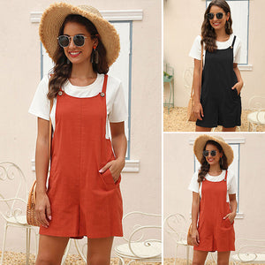Women's Casual Cute Solid Color Jumpsuit Sling Button Loose Bib Shorts