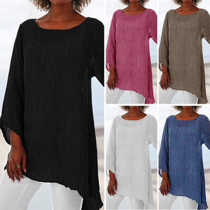 Women's Casual Home Wear Loose Tops Irregular Long-sleeved T-shirt Shirt