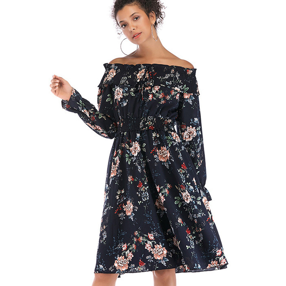 Women's Retro Off Shoulder Dress Floral Long Sleeve High Waist Beach Holiday