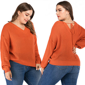 Women's Large Size Pullover Sweater Solid Color Long Sleeve Loose Bottoming Tops