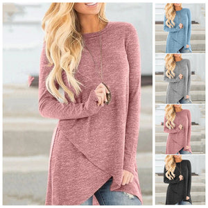 Irregular Round Neck Casual Top