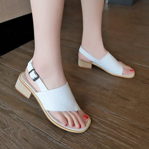Solid Color Plus Size Sandals With Buckle