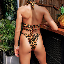 Load image into Gallery viewer, Split Swimsuit Leopard Print Sexy Bandage Bikini