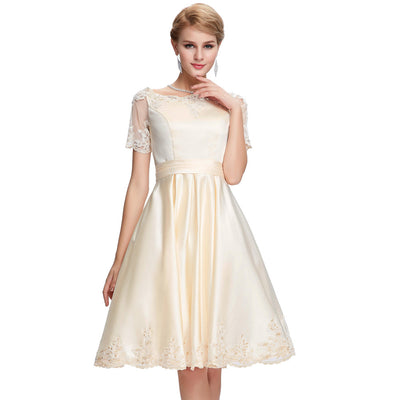 Grace Karin Women's Lovely Champagne Short Sleeve Boat-Neck Lace-Up Back Knee-Length Ball Cocktail Evening Prom Party Dress
