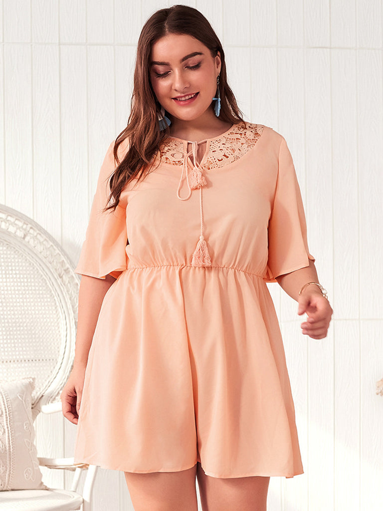 Femmes Plus Size Lace-Up Lace Hollow Splice Half Sleeve Waist Tightening Dress - Presale