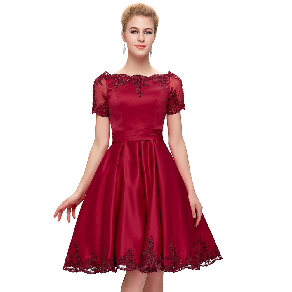 Grace Karin Women's Lovely Dark Red Short Sleeve Boat-Neck Lace-Up Back Knee-Length Ball Cocktail Evening Prom Party Dress
