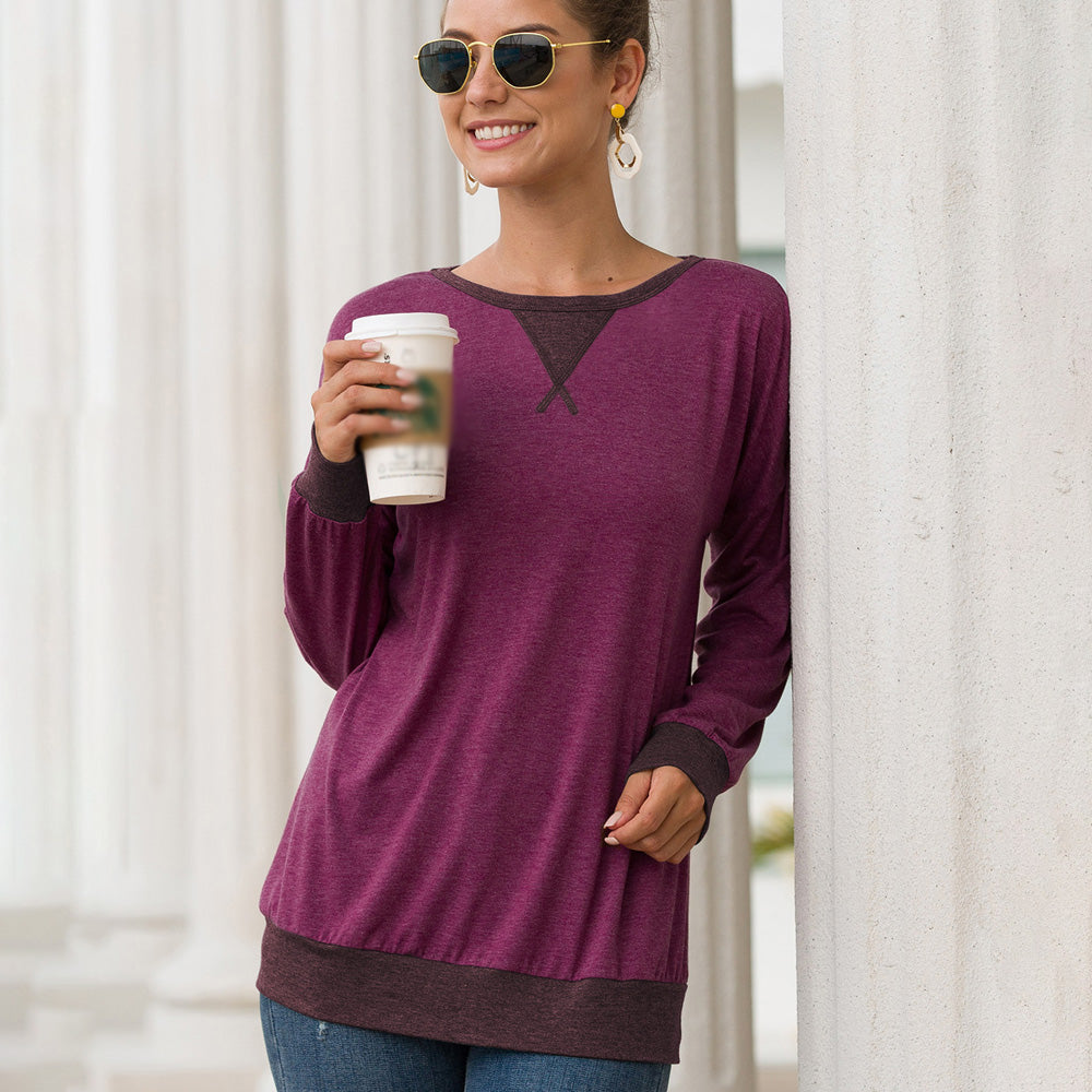 Women Splice T-Shirts Tops Long Sleeve Round Neck Casual Loose Fashion - PRESALE