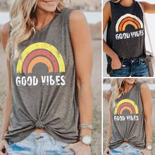 Load image into Gallery viewer, Good Vibes O-Neck Rainbow Tank Top