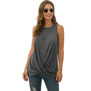 Women's Casual Solid Color Round Neck Vest Sleeveless Pullover Tops T-shirt
