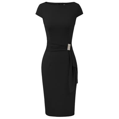Grace Karin Women Cap Sleeve Scoop Neck Drape Decorated Hips-Wrapped Bodycon Pencil Dress