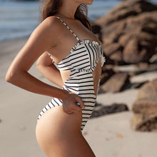 Load image into Gallery viewer, Bubble Fabric Toothed Stripe Printed One-piece Swimsuit