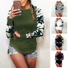 Load image into Gallery viewer, Women's Causal Slim Round Neck Camouflage Tops Long Sleeve Pullover T-Shirt