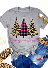 Load image into Gallery viewer, Leopard Printed Plaid Christmas Trees Merry And Bright T-Shirt Tops