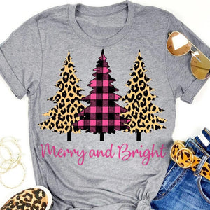 Leopard Printed Plaid Christmas Trees Merry And Bright T-Shirt Tops