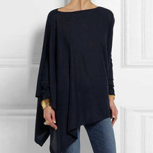 Load image into Gallery viewer, Women Tops Pullover Autumn Winter O-Neck Long Sleeve Irregular Casual Loose